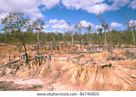 soil erosion due to overgrazing leading to desertification caused by over exploitation - stock photo