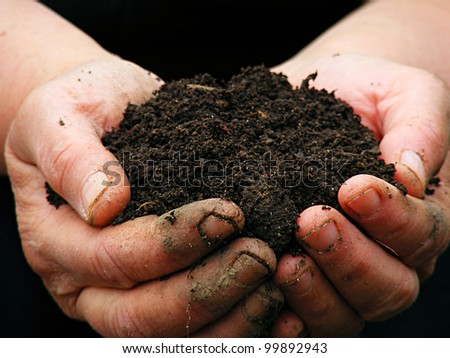 Soil in farmer arms. Macro image with selective focus. - stock photo
