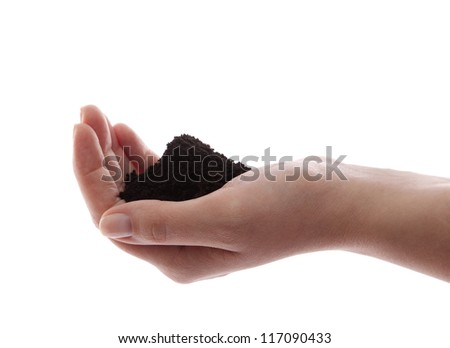 Soil in hand isolated on white - stock photo