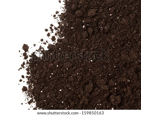 Soil or dirt crop isolated on white background - stock photo