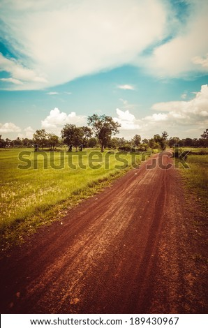 Soil road and grass meadow in  countryside view nature - stock photo