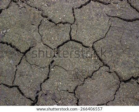 Soil texture background  black earth with cracks - stock photo