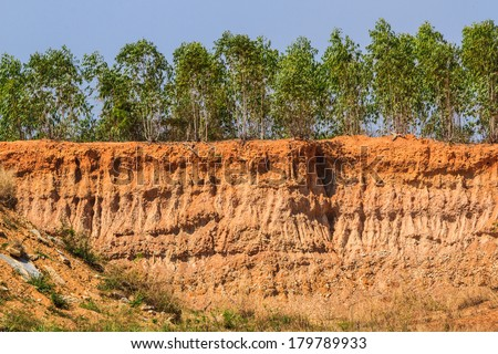 Soil under condition of the erosion as the cliff by human.   - stock photo