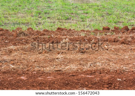 Soil was excavated to the road - stock photo