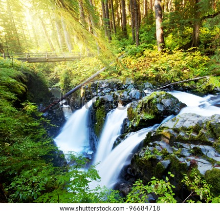Sol Duc waterfall - stock photo