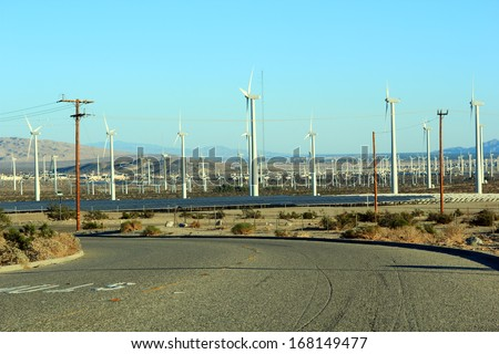 Solar and wind renewable sustainable energy source, Palm Springs power plant, CA - stock photo