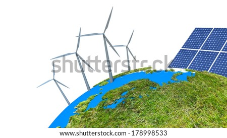 solar batteries as alternative source of energy - stock photo
