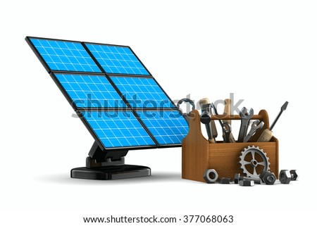 solar battery on white background. Isolated 3d image - stock photo