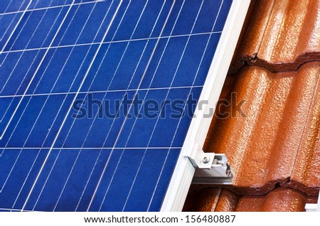solar-cell array on the roof. - stock photo