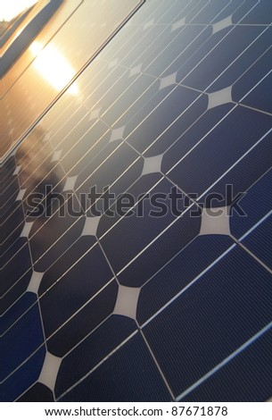 Solar cell battery panel detail and closeup - stock photo