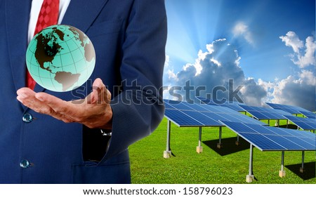 Solar cell business concept - stock photo