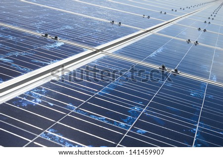 solar cell installed on platform closeup - stock photo