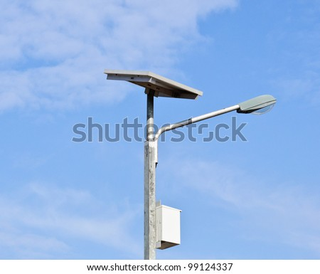 Solar cell lamp on the island of Thailand. - stock photo