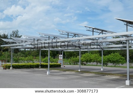 Solar cell on roof at car park. - stock photo