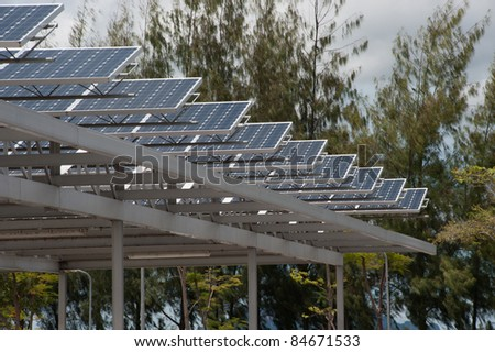 Solar cell on roof at car park 1. - stock photo