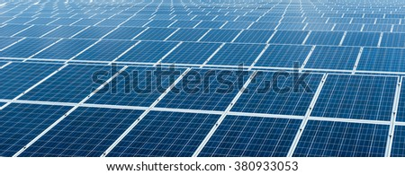Solar cell panels in a photovoltaic power plant - stock photo