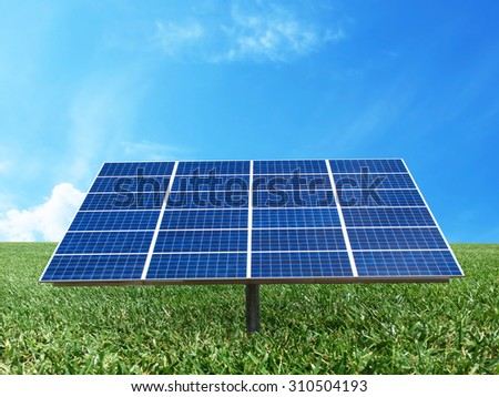 Solar cell power energy grid system technology idea concept background design - stock photo