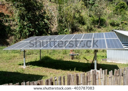 Solar cells are used in remote areas. - stock photo