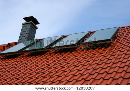 solar cells on a roof top - stock photo