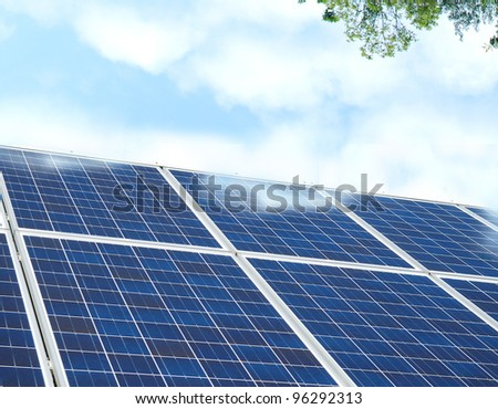 Solar cells on energy outdoor - stock photo