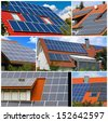 Solar cells - photo collage  - stock photo