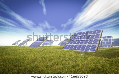 solar cells system on the green world 3d rendering - stock photo