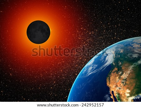 "Solar Eclipse ""Elements of this image furnished by NASA""  - stock photo"