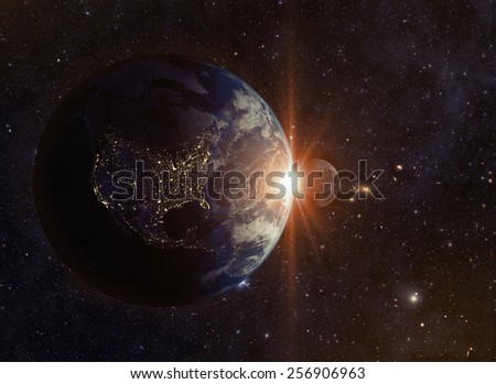 solar eclipse Elements of this image furnished by NASA - stock photo
