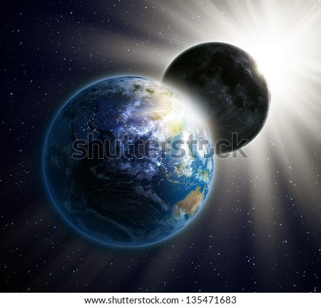Solar eclipse seen from outer space - stock photo