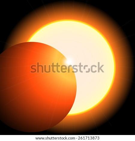 Solar eclipse; sun; moon; sunlight; corona; astronomy; sunset; phases - stock photo