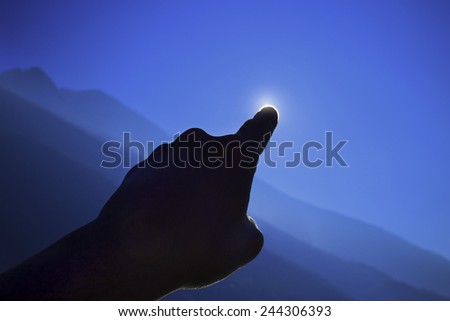 solar eclipses made with hand - stock photo