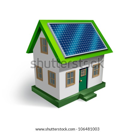 Solar energy house symbol on a white background as a residential icon of green renewable electricity from the sun being off the grid as money saving and ecological strategy. - stock photo