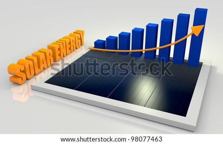 Solar energy image with photovoltaic panel and bar chart - stock photo