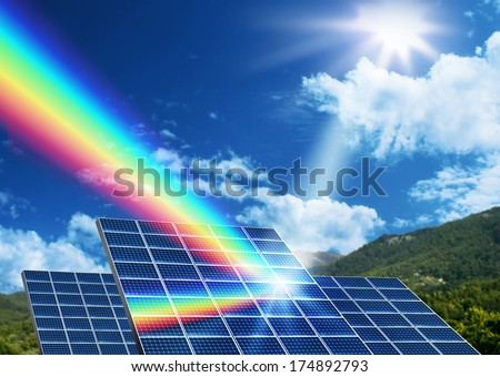 Solar energy panel collector reflecting sunlight spectrum - stock photo