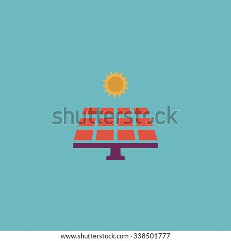 Solar energy panel. Colored simple icon. Flat retro color modern illustration symbol - stock photo