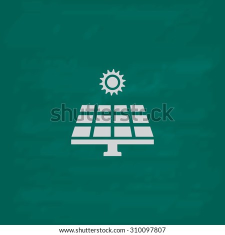 Solar energy panel.  Icon. Imitation draw with white chalk on green chalkboard. Flat Pictogram and School board background. Illustration symbol - stock photo