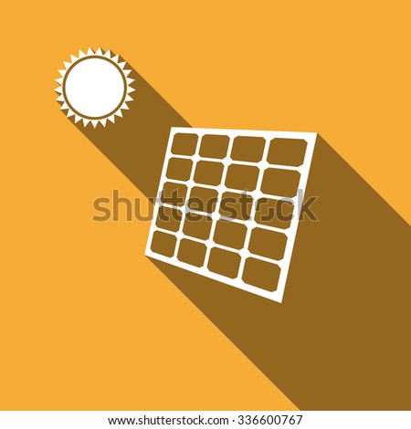 Solar energy panel icon with long shadow. - stock photo