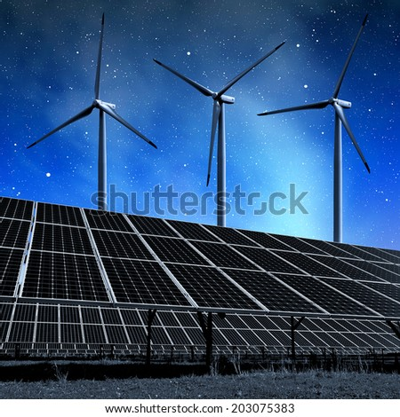 """solar energy panels and wind turbines in night. """"Elements of this image furnished by NASA"""". - stock photo"""