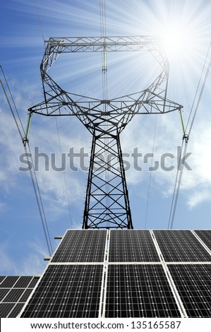 Solar energy panels with power line - stock photo