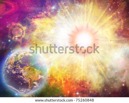 solar explosion illustration and space fantasy - stock photo
