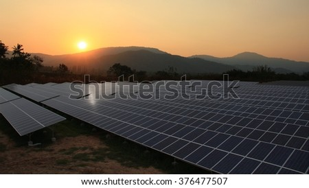 Solar farm with sunrise - stock photo