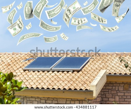 solar heater, money dollars  flying from the sky, 3d rendering - stock photo