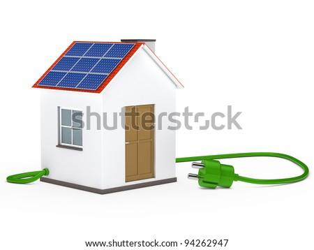 solar house with green plug cable inside - stock photo