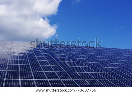 Solar panel and blue sky. Renewable, clean energy. - stock photo