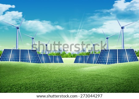 Solar panel and eolic system on green park - stock photo