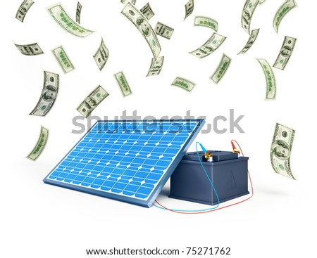 solar panel charges the battery on a white background - stock photo