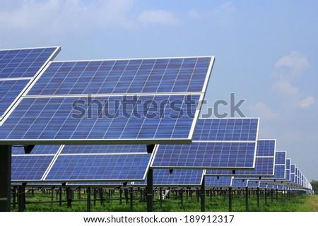 solar panel energy from the sun - stock photo