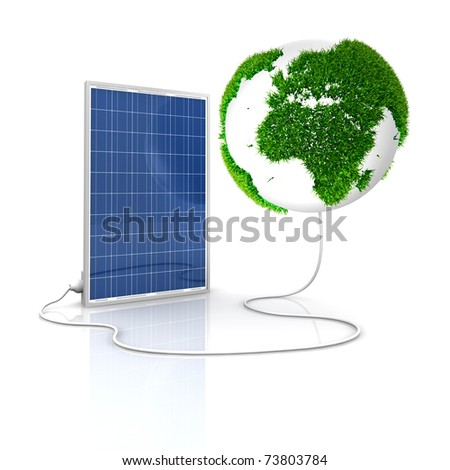 Solar panel for green and renewable energy. Save the world with photovoltaic and alternative energy. Europe and Africa view  with grass surface. - stock photo