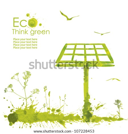 Solar panel.Illustration environmentally friendly planet from watercolor stains,isolated on a white background. Think Green. Ecology Concept. - stock photo