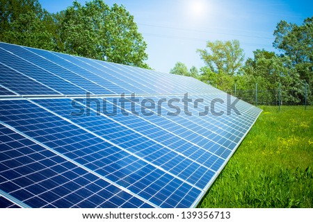 solar panel in outdoor solar power plant - stock photo